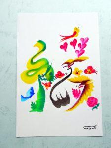 花文字,花文字アート,開運花文字,絵文字,文字アート,書道アート,筆文字,花文字体験