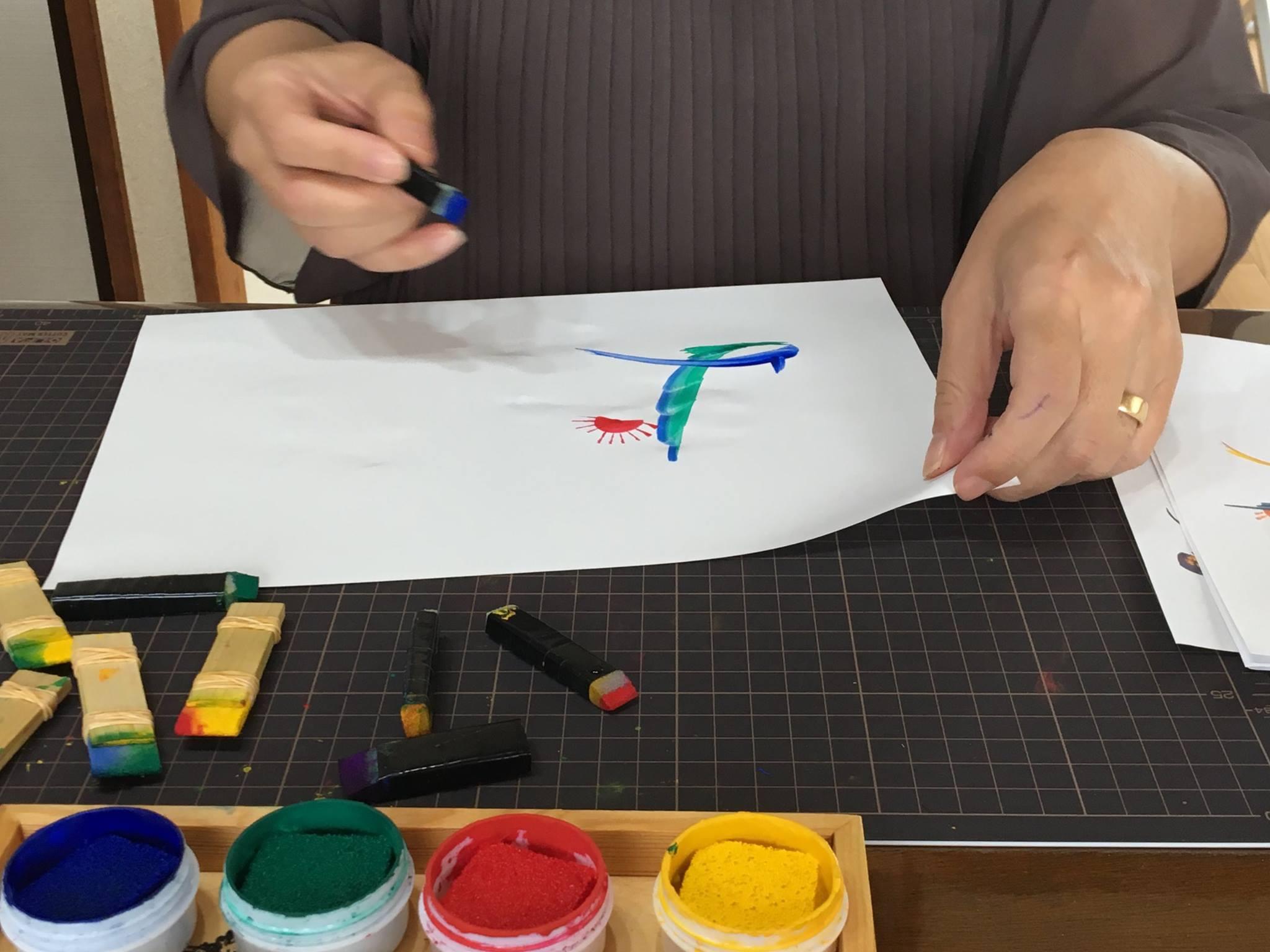 東京開催 花文字・花文字アートレッスンの様子