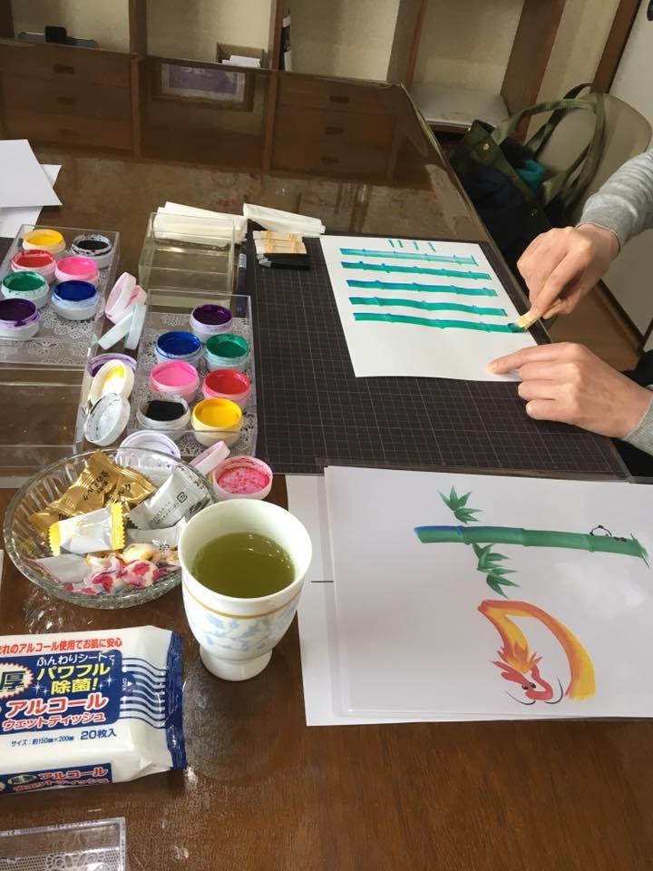 花文字,花文字アート体験レッスン風景東京