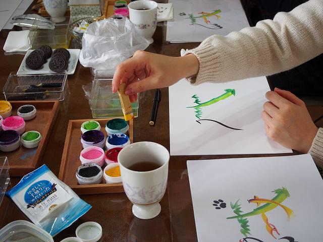 花文字・花文字アート東京体験会干支を描く「戌」